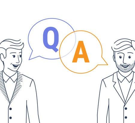 Eine Illustration von zwei Personen, die sich unterhalten über Digitalisierung und Kredit