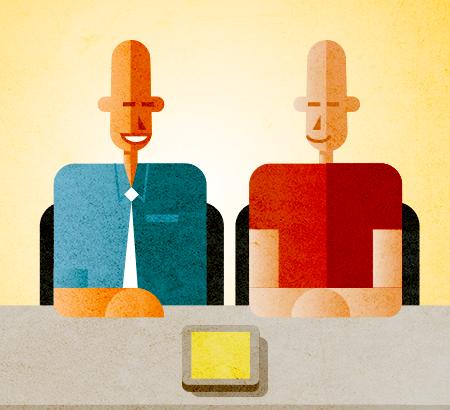 Eine Illustration von zwei Personen, die sich unterhalten.