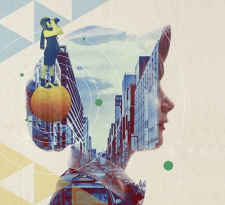 Eine Stadt und Mensch Collage