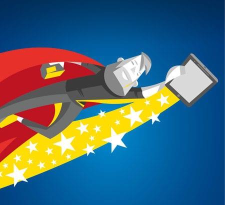 Eine Illustration von einem Superhelden, der ein Smartphone hat