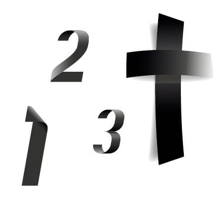 Ein schwarzes Kreuz umringt von Zahlen