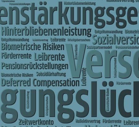 Eine Kollage von Wörtern run um das Thema Versicherung
