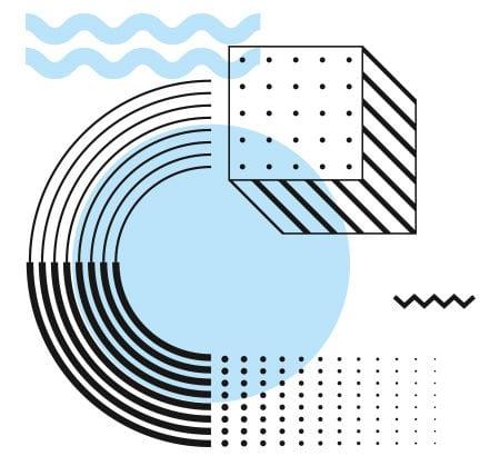 grafische Formen, Wellen, Kreise und Würfel