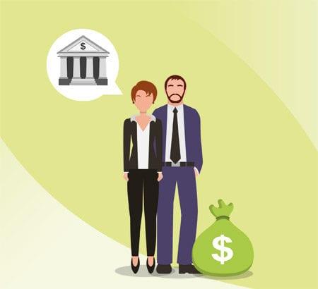 Grafik: Unternehmer vor Bank