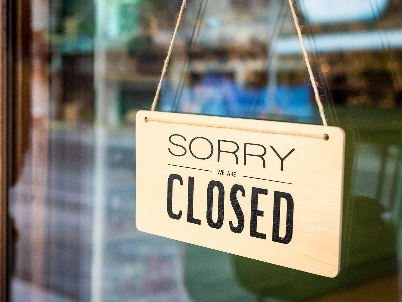 Sorry we are closed Schild