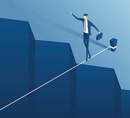 Grafik Unternehmer auf einem Seil