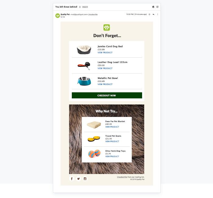 Screenshot eines Online-Warenkorbs