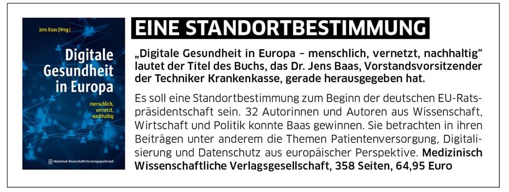 """Buchvorschau von TK-Chef Jens Baas: """"Digitale Gesundheit in Europa"""""""