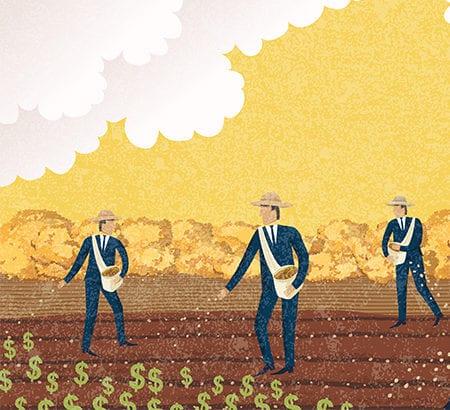 Illustration Farmer Diversifikation Geldanlage