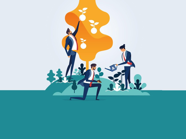 Grafik: Männer am Baum