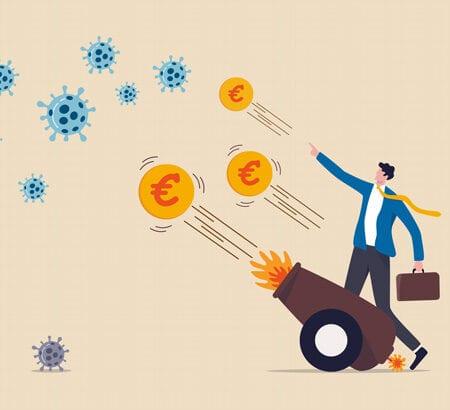 Grafik: Euros schießen aus Kanone