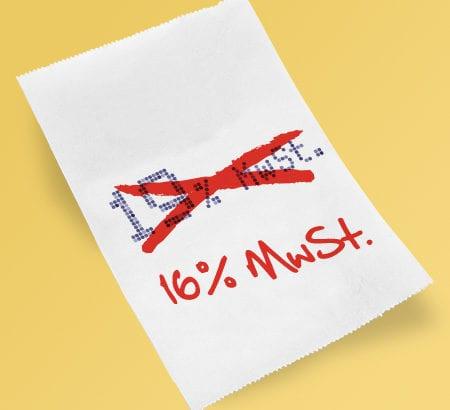 Ein Kassenbeleg auf dem 16 Prozent Mehrwertsteuer steht. Die Mehrwertsteuersenkung verringert den Satz um drei Prozent
