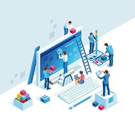 Zusammen bauen Mitarbeiter einen PC auf