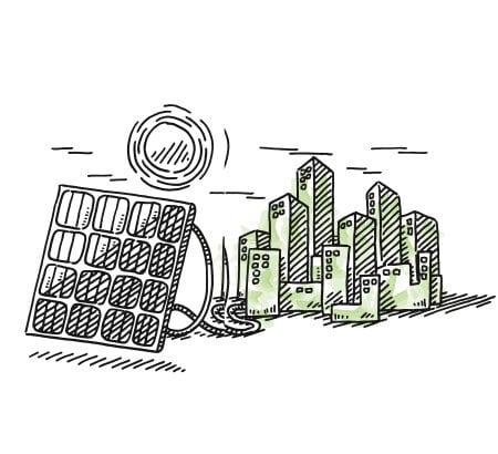 Eine Stadt die druch Solarpanels mit grüner Energie versorgt wird