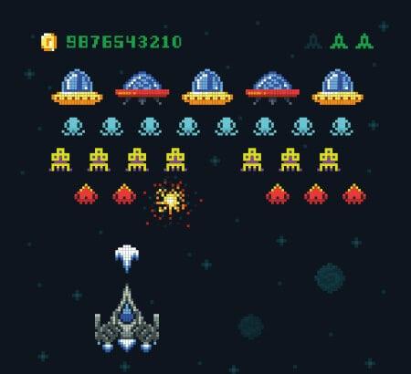 Ein Computerspiel, das an Space Invader erinnert.