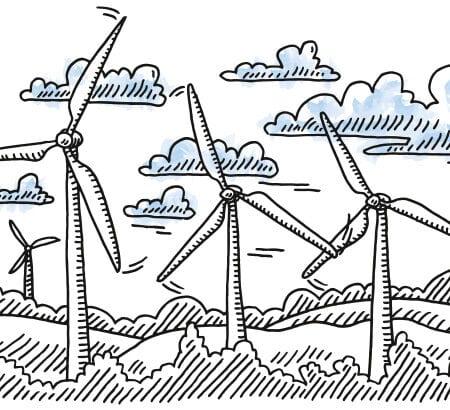 Eine Skizze von Windrädern auf einer Weide die Windenergie generieren