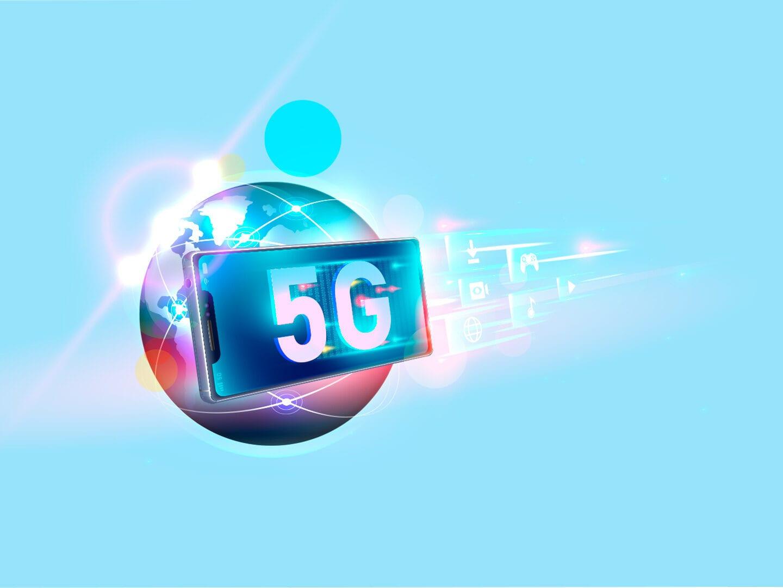 Illustration von einer Weltkugel mit einem Smartphone und 5G