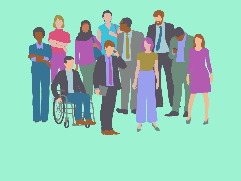 Menschen unterschiedlicher Hintergünde stehen nebeneinander
