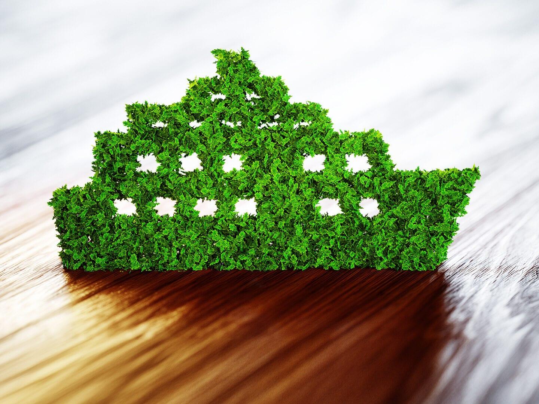 Schiff geformt aus nachhaltigen Material
