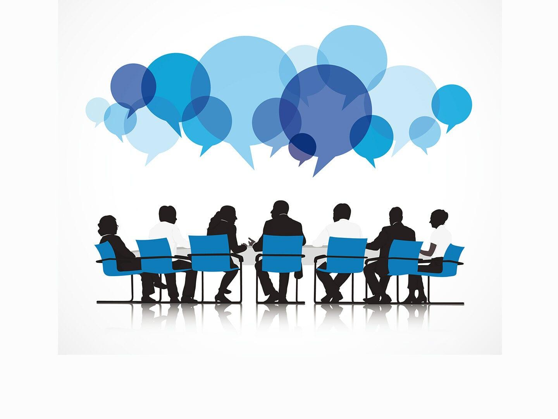 Illustration Personen am Konferenztisch. Kommunikation wird bei diesem Geschäftsmännern groß geschrieben