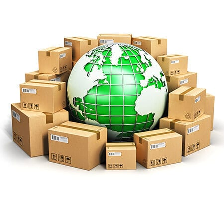 Pakete grüne Weltkugel