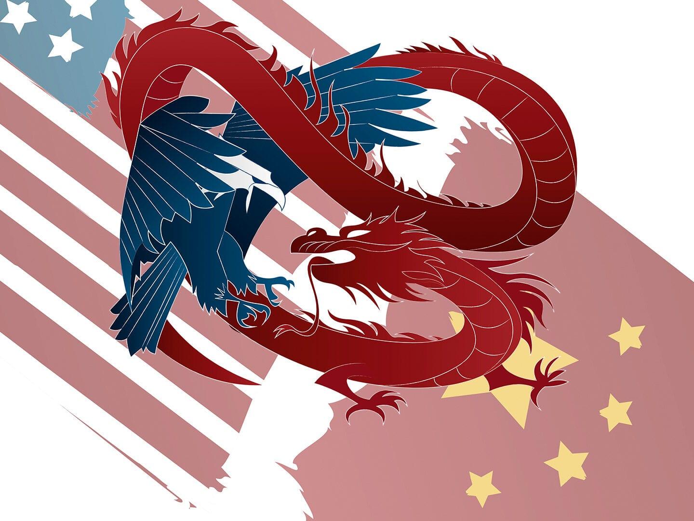 Illustration der chinesischen und amerikanischen Flagge mit Drachen