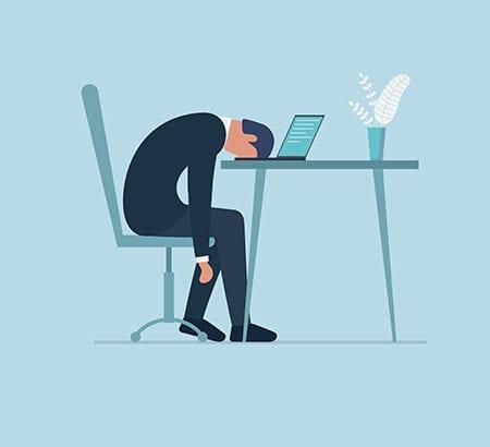 Illustration: mann sitzt alleine im Homeoffice und hat den Kopf auf dem Tisch