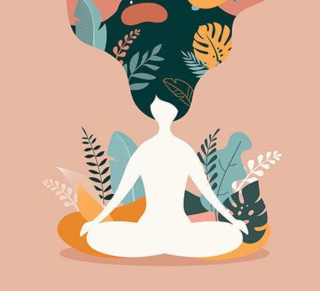 Illustration einer Frau mit Blumendeko