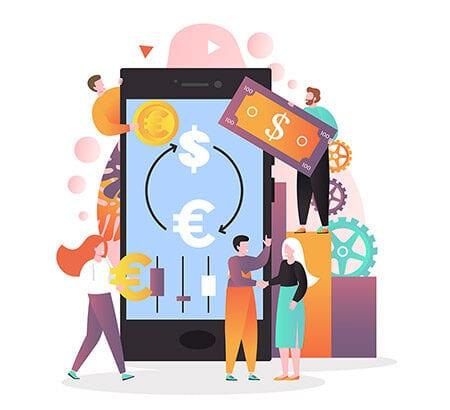 Illustration eines Smartphones mit Dollarzeichen