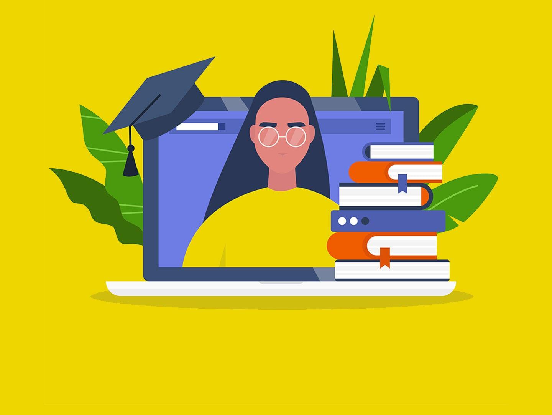 Illustration eines Young Professionals mit gelben Hintergrund