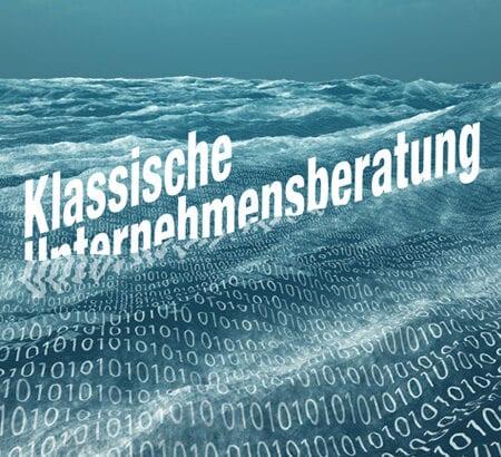 Wellen mit binären Zahlen und einem Schriftzug