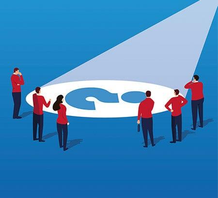 Illustration von menschen in einem Kreis und in der Mitte ein Fragezeichen