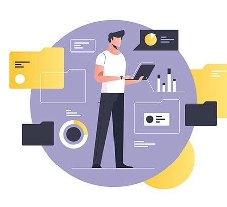 Grafik von einem Mann, der ein digitales Projekt managt