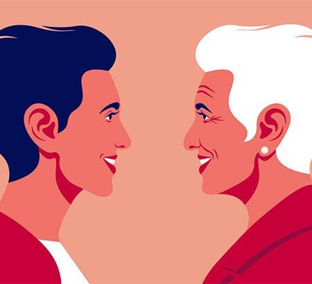 Illustration von Frauen unterschiedlichen Alters die sich gegenüber stehen