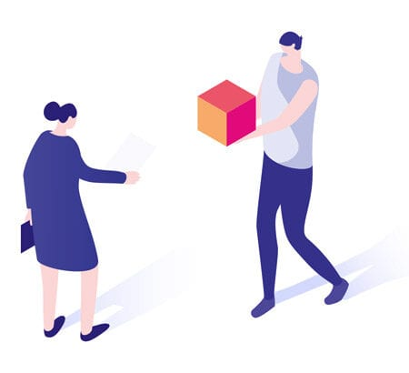 Zwei Personen tauschen Papier gegen Box