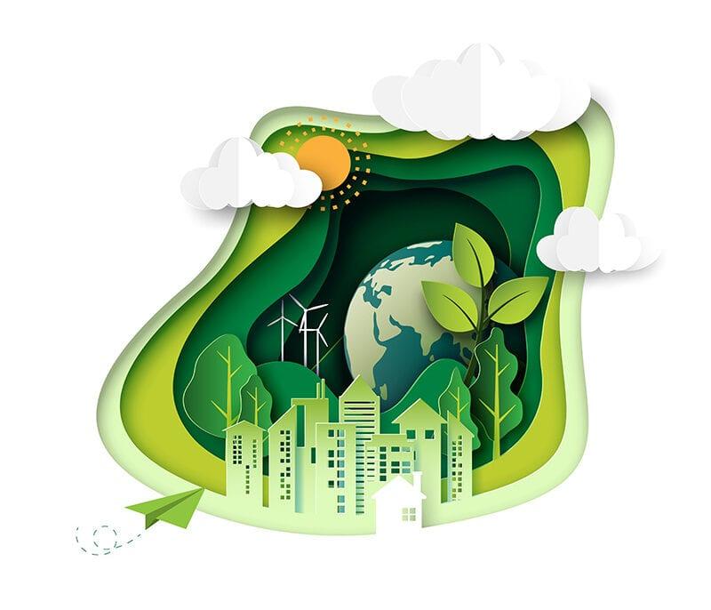 Papercut zeigt Weltkugel und erneuerbare Energien