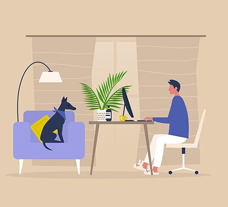 Illustration Mann im Homeoffice mit Hund