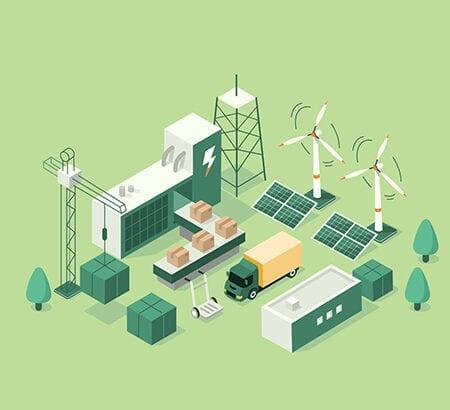 Illustration Nachhaltigkeit in der Lieferkette