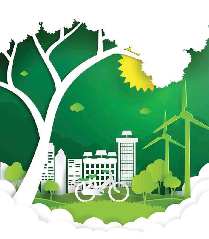 Papercut zeigt Fahrrad unterm Baum