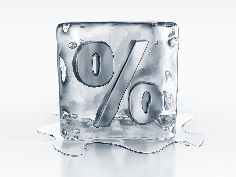 Schmelzender Eiswürfel Prozentsymbol