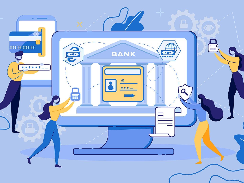 Illustration eines Bildschirms mit Menschen aus der Finanzbranche