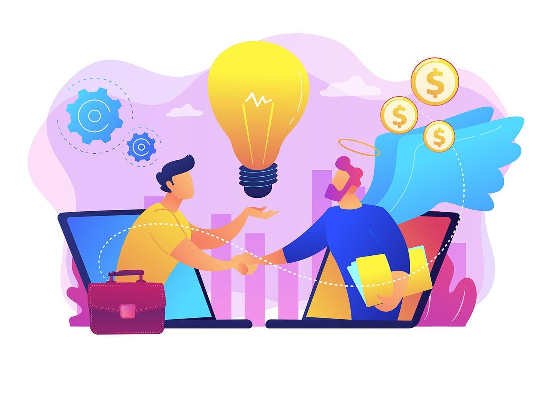 Ein illustrierter Mann gibt einen anderen finanzielle Hilfe