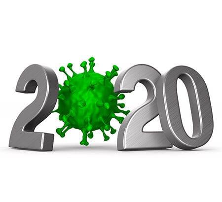 Illustration von 2020 und Coronavirus