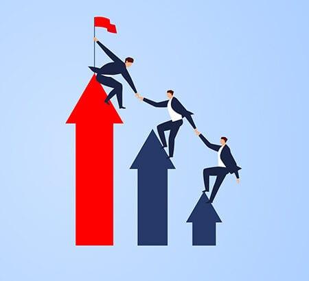 Illustration eines Chef der seine Mitarbeiter in der Führung einbezieht