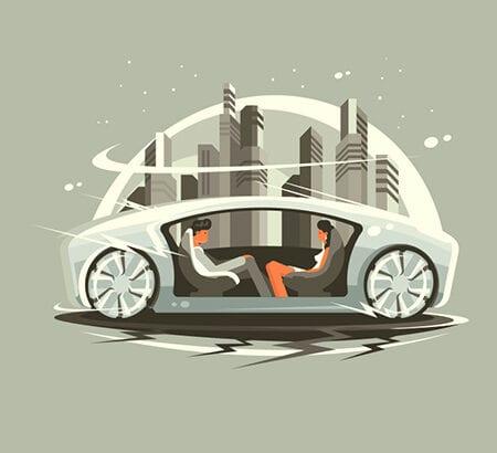 Illustration von zwei Personen, die in einem futuristischem Auto fahren. Die Mobilität der Zukunft
