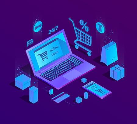 Ein Laptop auf den ein Shoppingerlebnis symbolisiert wird