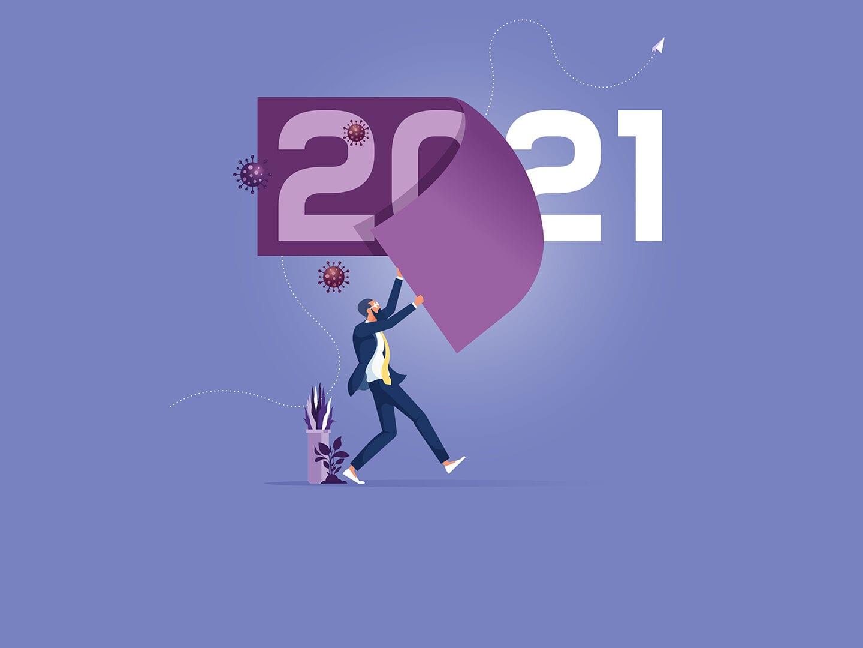 Symbolik eines Jahreswechsels von 2020 auf 2021