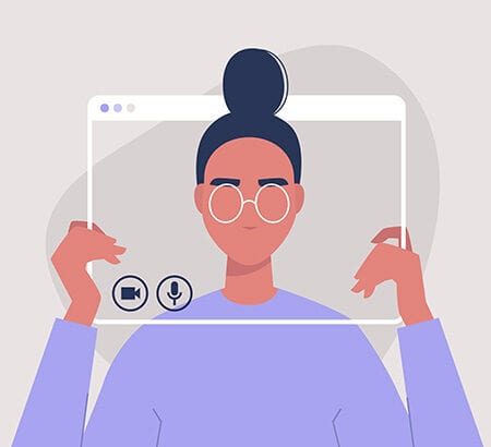 Illustration einer Frau die im Zentrum eines Bildschirms zu sehen ist
