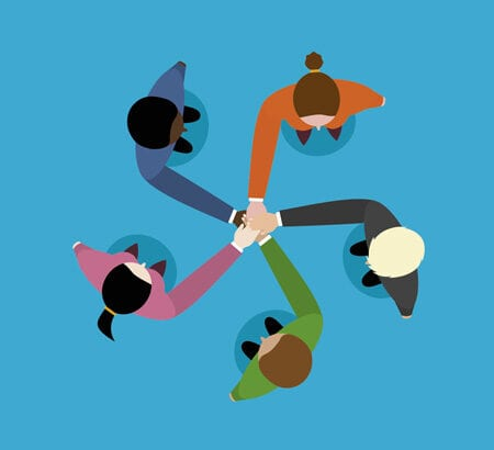Illustration von Menschen die sich die Hand geben