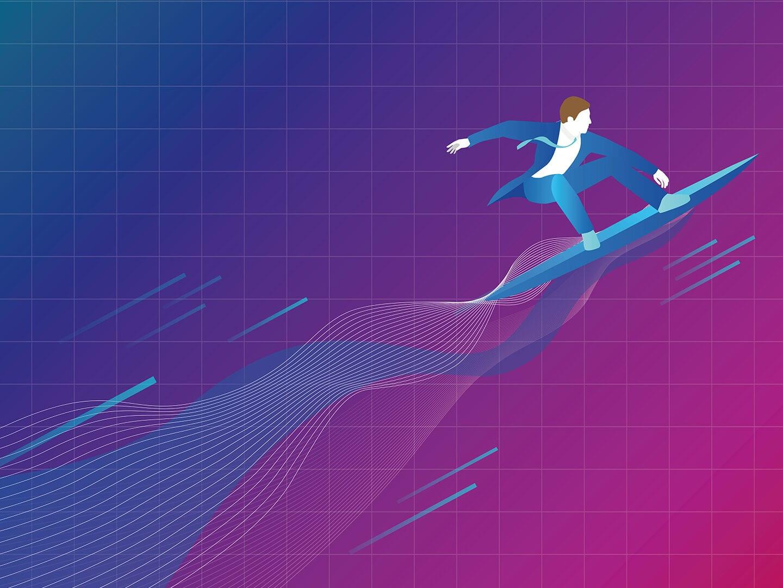 Unternehmen surft in das digitale Zeitalter